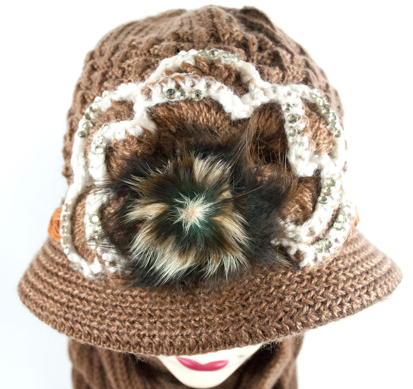 Ladies Knitted Visor Beanie Cap with Scarf Set Wholesale - Dallas General Wholesale
