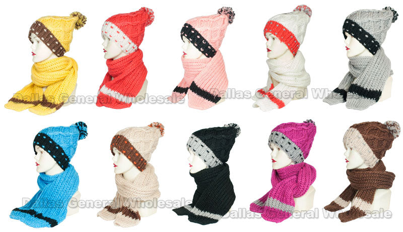 Girls Knitted Beanie Hat with Scarf 2 Pieces Set Wholesale - Dallas General Wholesale