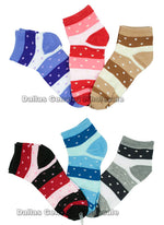 Girls Printed Casual Ankle Socks Wholesale - Dallas General Wholesale