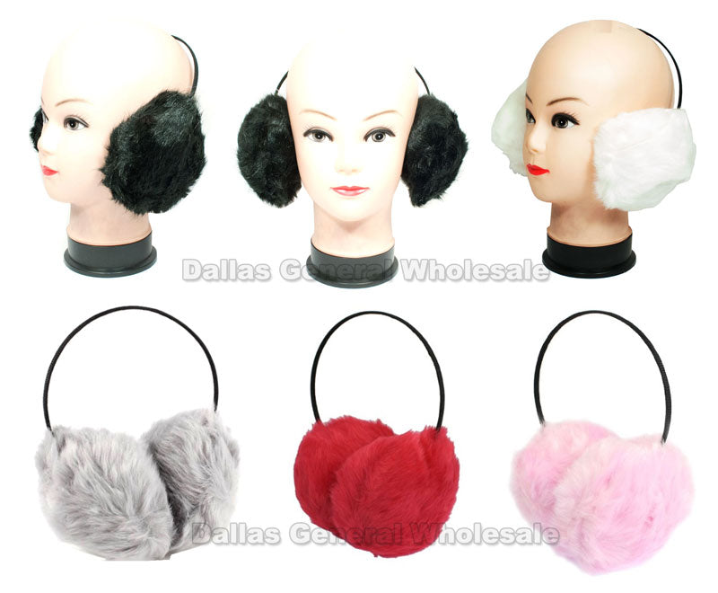 Ladies Fuzzy Imitation Fur Earmuffs Wholesale - Dallas General Wholesale