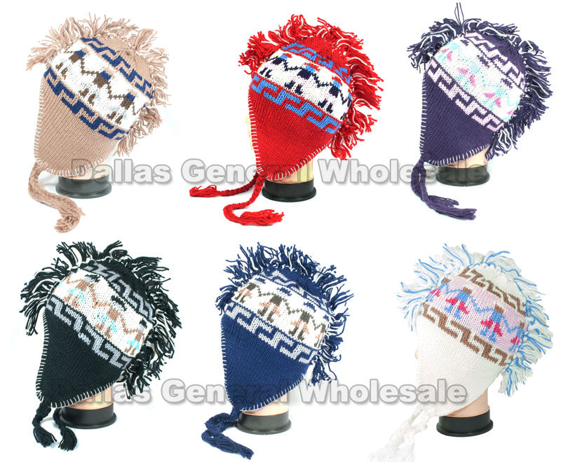 Girls Knitted Mohawk Aviator Beanie Hats Wholesale - Dallas General Wholesale