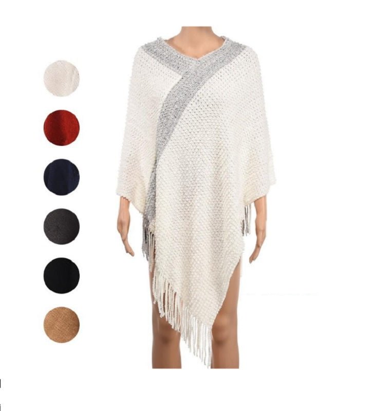 Ladies Fashion Knitted Poncho Wholesale - Dallas General Wholesale