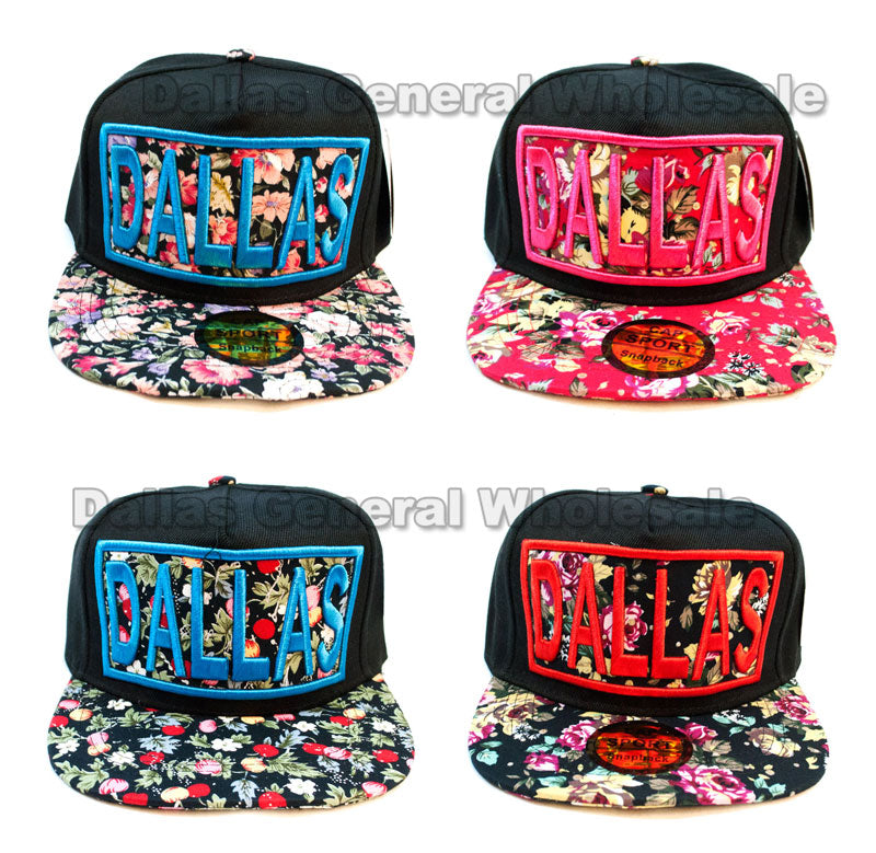 """DALLAS"" Trendy Snap Back Flat Bill Caps Wholesale - Dallas General Wholesale"