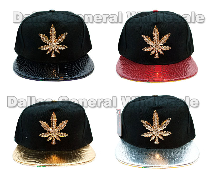 """Marijuana"" Flat Bill Snap Back Caps Wholesale - Dallas General Wholesale"