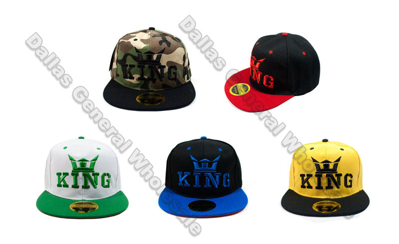 """KING"" Snap Back Flat Bill Caps Wholesale - Dallas General Wholesale"