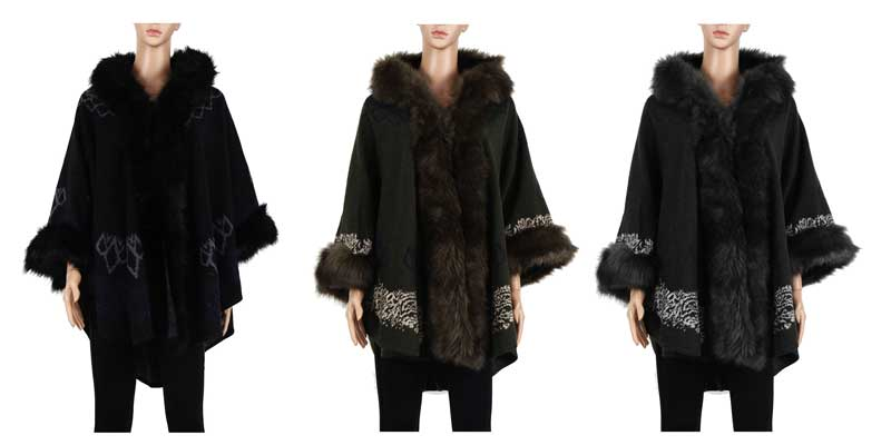 Ladies Fur Trim Poncho Capes Wholesale - Dallas General Wholesale