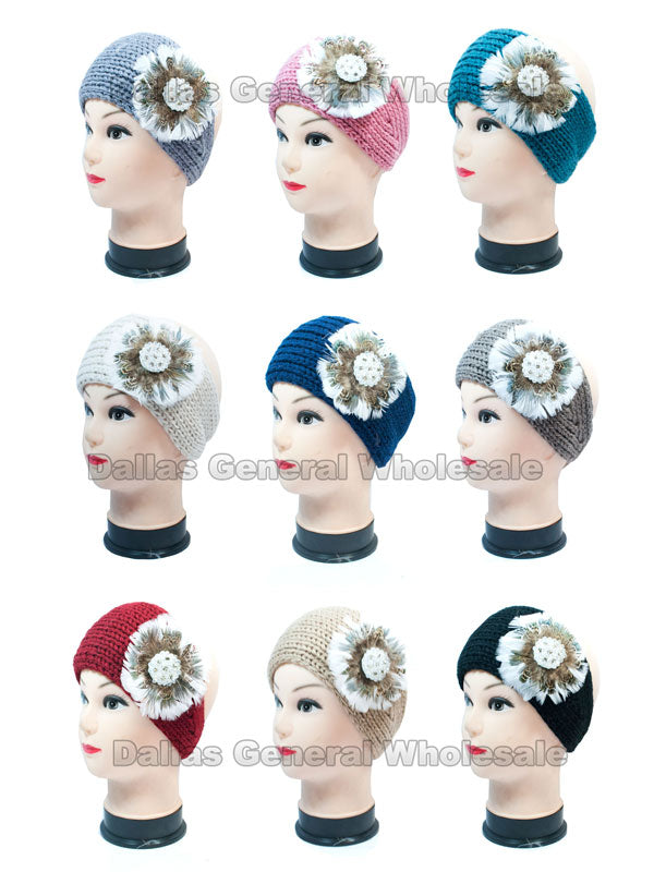 Peacock Feather Knitted Head Wraps Wholesale - Dallas General Wholesale