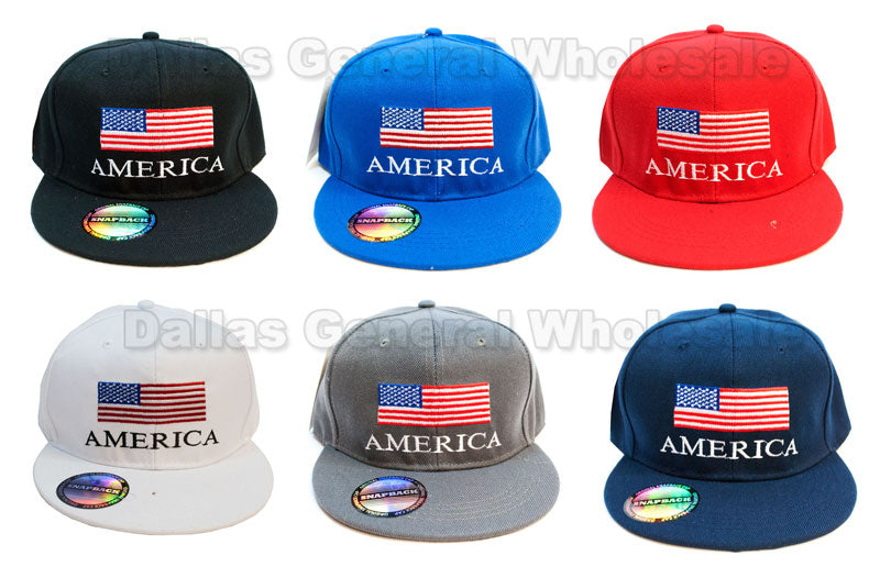 """America USA Flag"" Trendy Snap Back Caps Wholesale - Dallas General Wholesale"