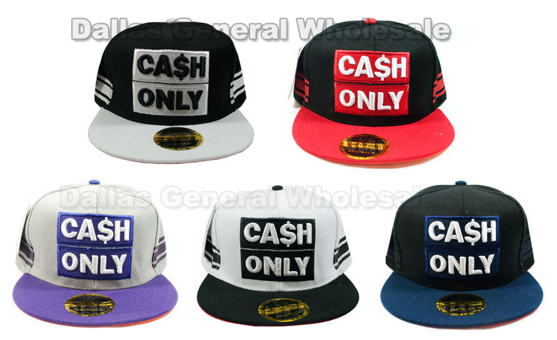 """Cash Only"" Casual Flat Bill Caps Wholesale - Dallas General Wholesale"