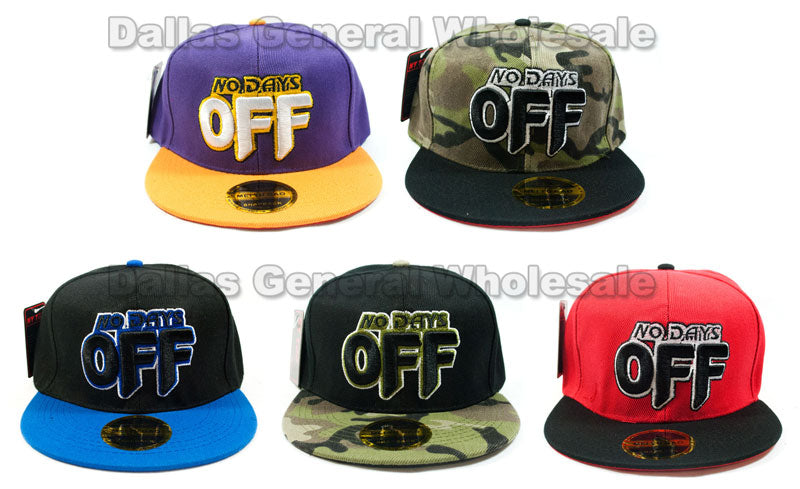 """NO DAYS OFF"" Casual Flat Bill Caps Wholesale - Dallas General Wholesale"