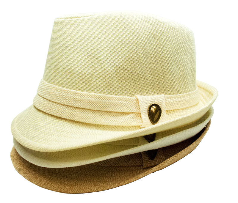 Fedora Hat with Brass Button - Dallas General Wholesale