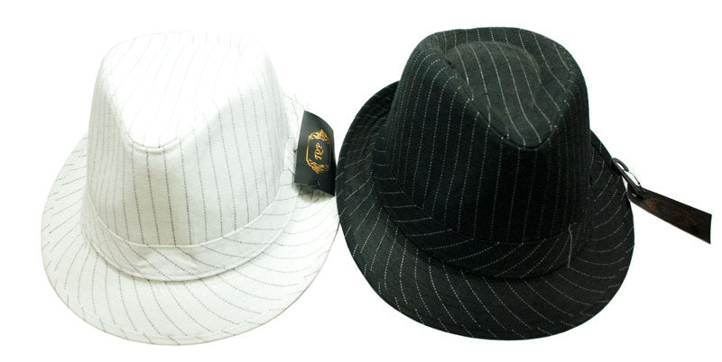 Cotton Stripped Fedora Hats - Dallas General Wholesale