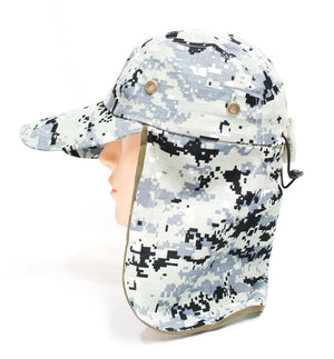 Digital Camouflage Caps with Flap Neck Cover - Dallas General Wholesale