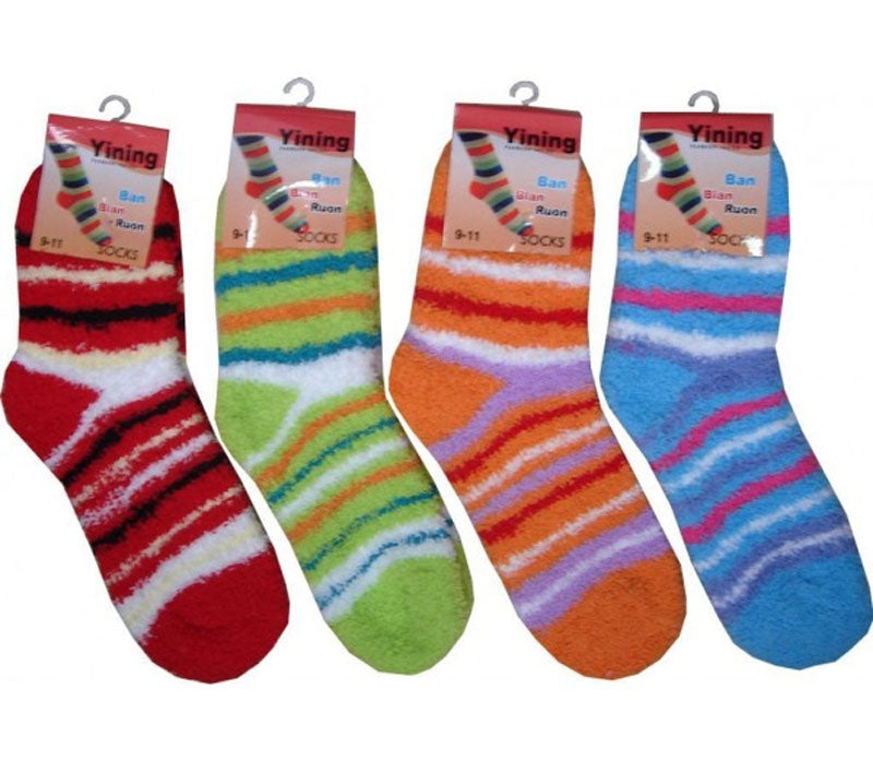 Stripe Fuzzy Socks Wholesale - Dallas General Wholesale