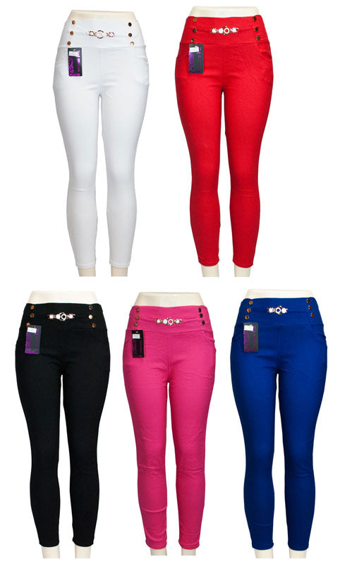 Ladies Pull on Solid Color Fitted Pants - Dallas General Wholesale