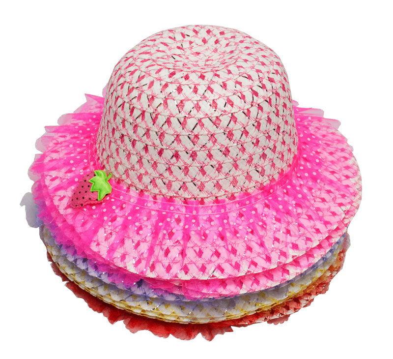 Little Girls Straw Hat-Strawberry - Dallas General Wholesale