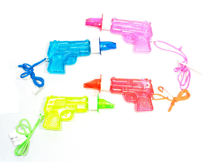 24 PC Gun shaped Bubble Blowers with Whistle - Dallas General Wholesale