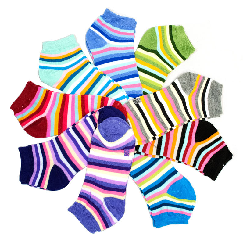 Girls Cotton Ankle Casual Socks-Stripes - Dallas General Wholesale