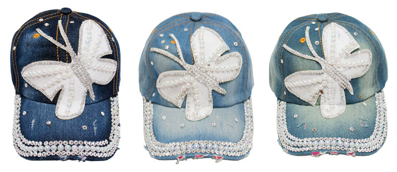 """Butterfly"" Studded Fashion Jean Casual Caps - Dallas General Wholesale"