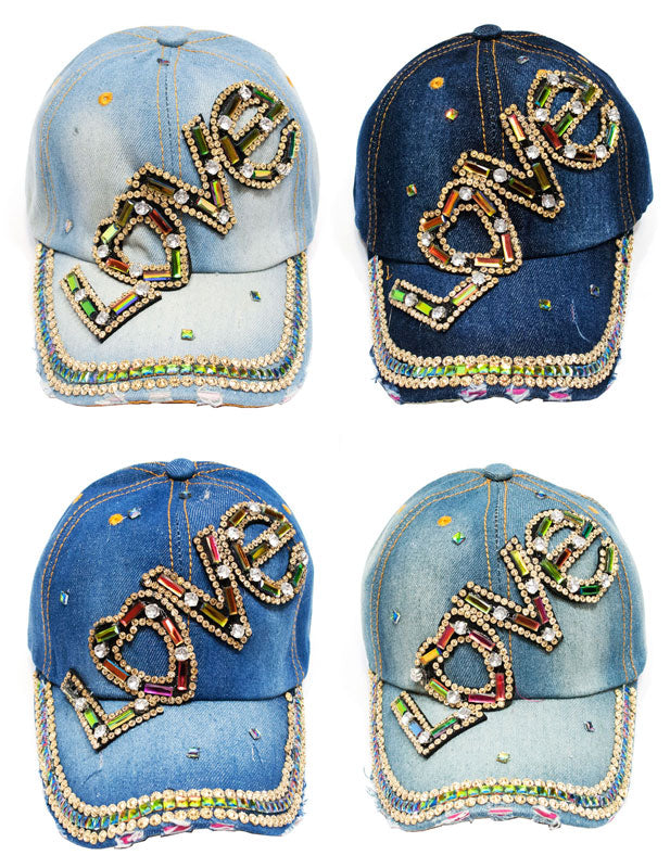 """LOVE"" Studded Fashion Jean Casual Caps - Dallas General Wholesale"