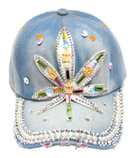 """Marijuana Leaf""Studded Fashion Jean Casual Caps - Dallas General Wholesale"