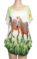 Ladies Casual Printed Blouses - Zebras - Dallas General Wholesale