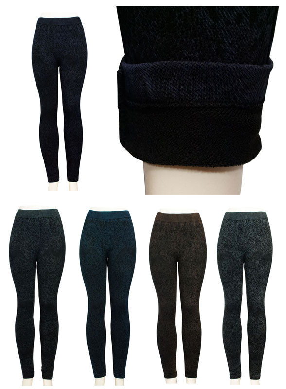 Fleece Lining Pull On Printed Fashion Leggings - Dallas General Wholesale