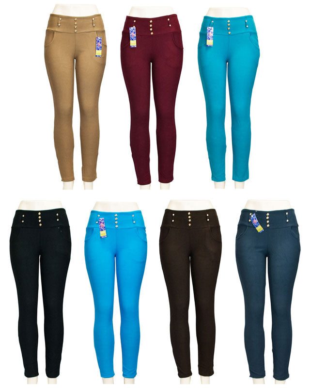 Ladies Pull On Fitted Skinny Pants - Dallas General Wholesale