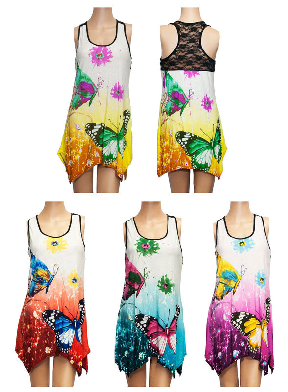 Ladies Causal Sleeveless Blouses with Butterfly Prints - Dallas General Wholesale