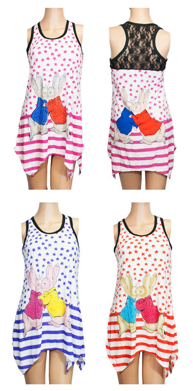Sleeveless Tunic Tops -Stars and Bunny Prints - Dallas General Wholesale