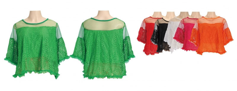 Lace Crop Tops with Sleeves - Dallas General Wholesale