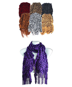 Leopard Scarf with Fringe - Dallas General Wholesale
