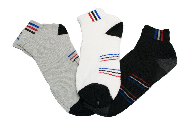Men's Cotton Sports Socks with Stripes Designs - Dallas General Wholesale