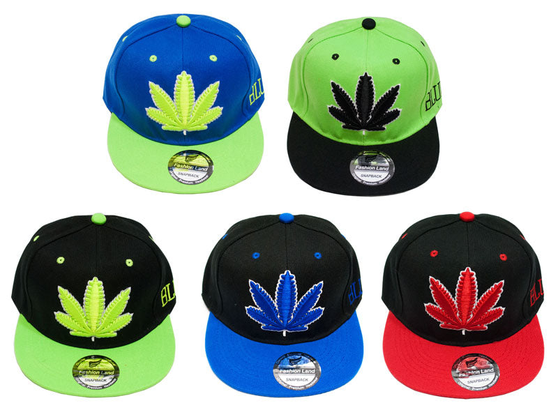 """Marijuana"" Snap Back Flat Bill Trendy Caps - Dallas General Wholesale"