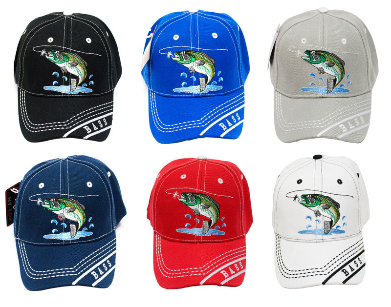 """Bass Fishing"" Casual Baseball Caps Wholesale - Dallas General Wholesale"