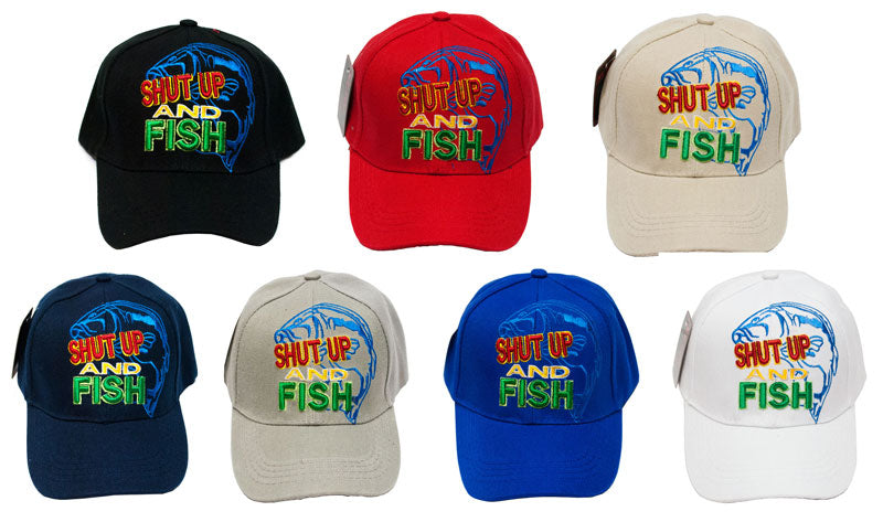 """SHUT UP AND FISH"" Casual Baseball Caps - Dallas General Wholesale"