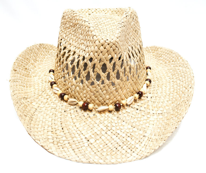 Unisex Cowboy Hats with Sea Shell Beads - Dallas General Wholesale