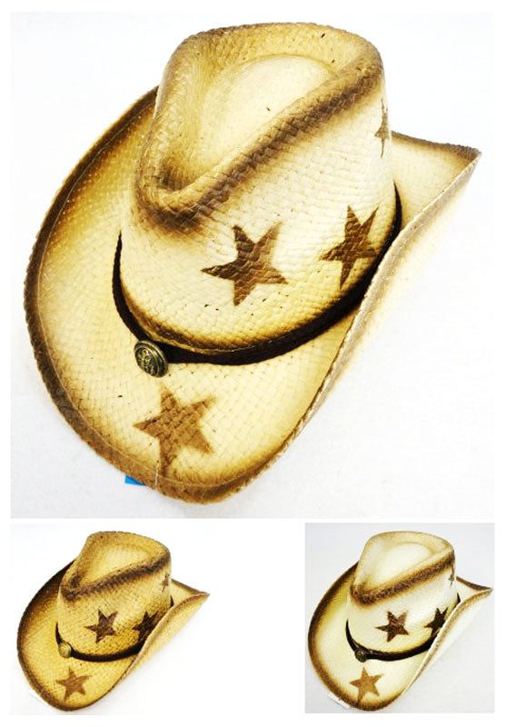 Paper Straw Cowboy Hats-Stars - Dallas General Wholesale