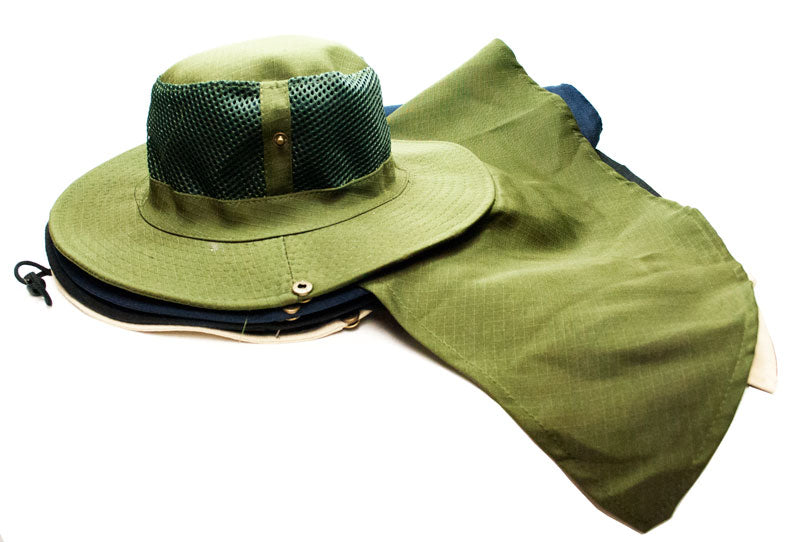 Solid Color Mesh Boonie Hats with Flap Neck Cover - Dallas General Wholesale
