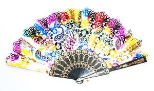Painted Traditional Folding Hand Fan - Dallas General Wholesale