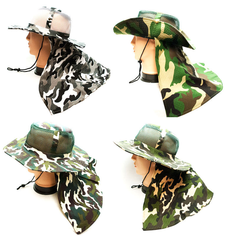 Camouflage Mesh Boonie Hats with Flap Neck Cover - Dallas General Wholesale