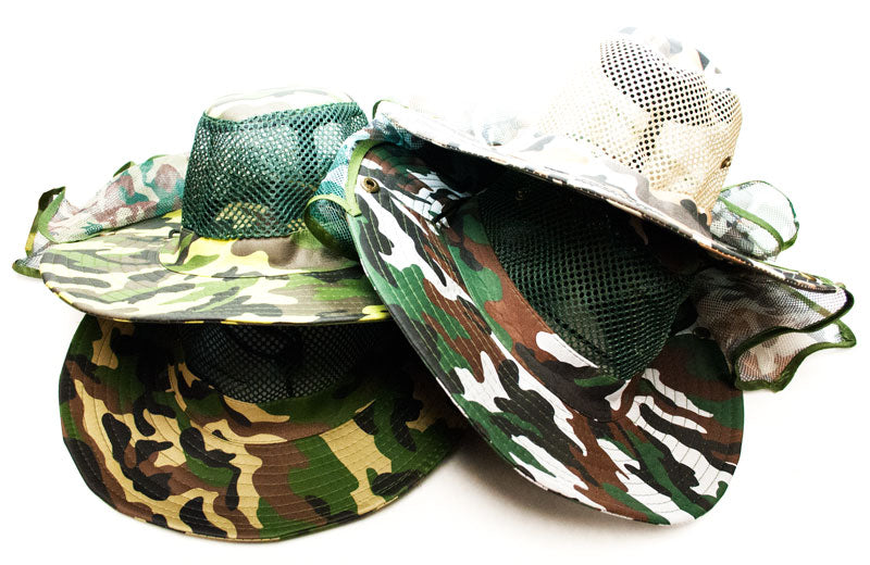 Camouflage Mesh Bucket Hats with Vented Neck Cover - Dallas General Wholesale