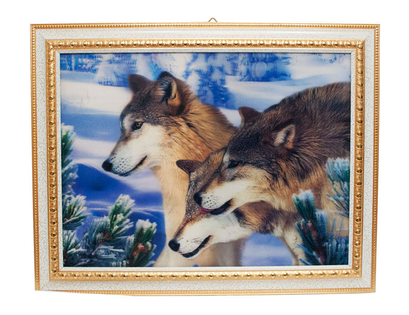 3D Picture of Wolves with Frame - Dallas General Wholesale