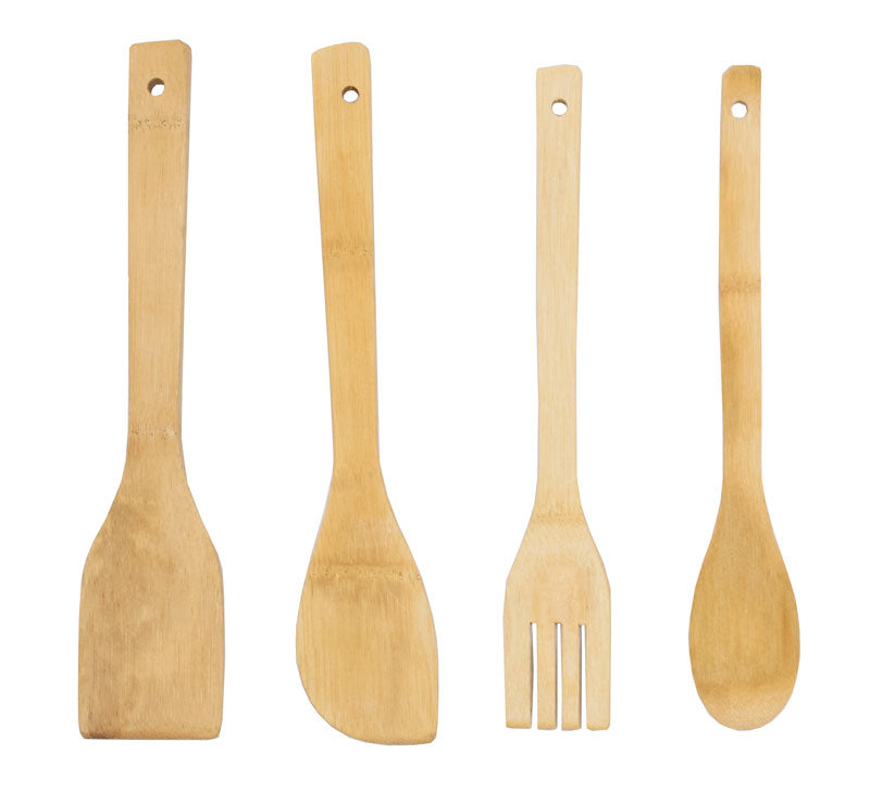 "4 PC Set 12"" Wooden Cooking Tools - Dallas General Wholesale"