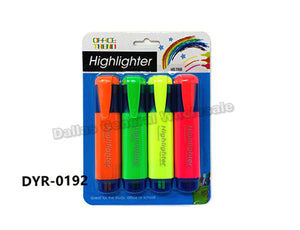 4 PC Neon Color Highlighters Wholesale - Dallas General Wholesale