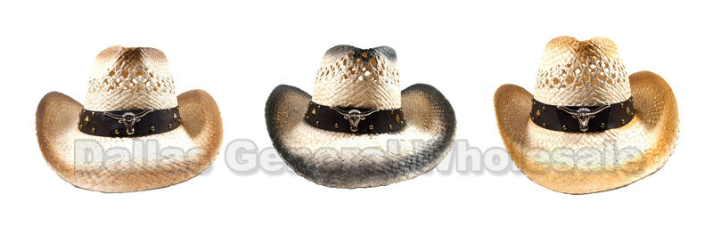 Adults Longhorn Straw Cowboy Hats Wholesale - Dallas General Wholesale