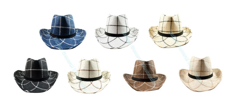 Checkered Straw Dress Hats Wholesale - Dallas General Wholesale