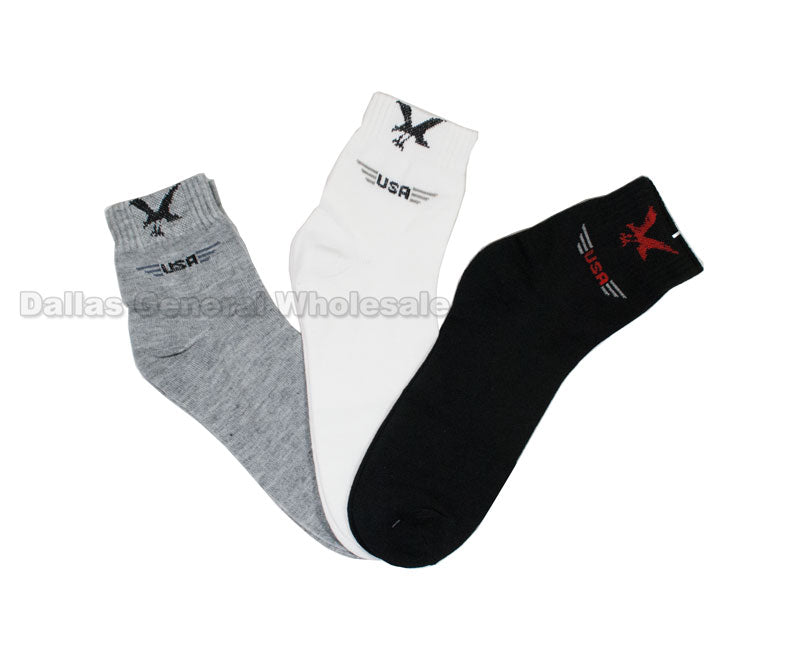 Men Thin Eagle Ankle Socks Wholesale - Dallas General Wholesale