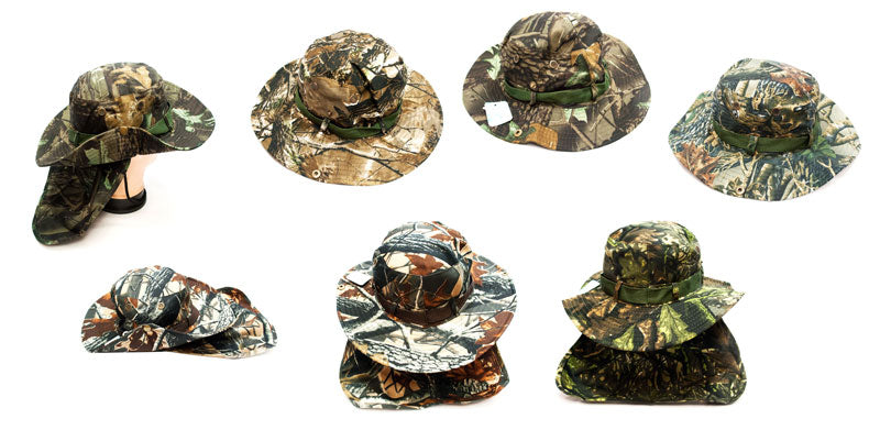 Forest Camouflage Bucket Hat with Flap Neck Cover - Dallas General Wholesale