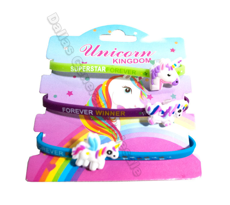 3 PC Unicorn Bracelets Wholesale - Dallas General Wholesale